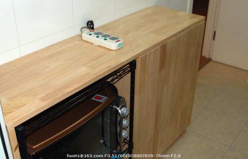 【自制橡胶木厨房小柜子】